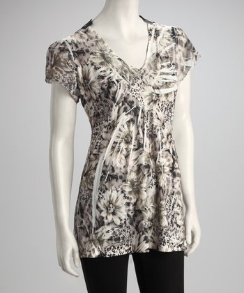 Brown & Black Floral Jungle Crocheted Top