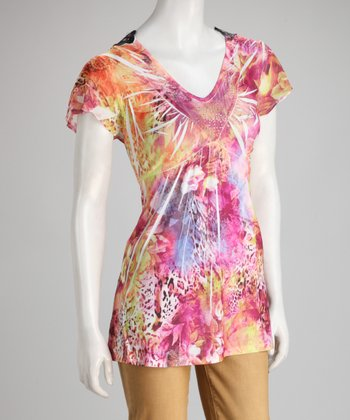 Orange & Pink Animal Sublimation Crochet-Back Top
