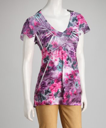 Plum Sublimation Crochet-Back Top