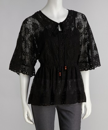 Black Antique Lace Keyhole Top