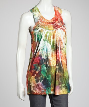 Green Sublimated Floral Sleeveless Top