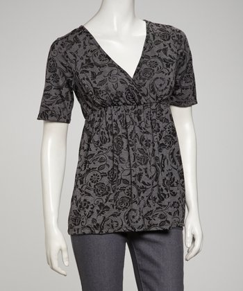 Black Surplice Short-Sleeve Top