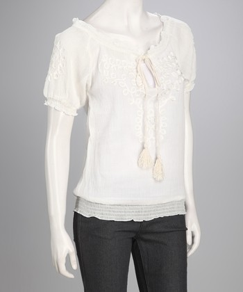 Ivory Twirling Ribbon Keyhole Top