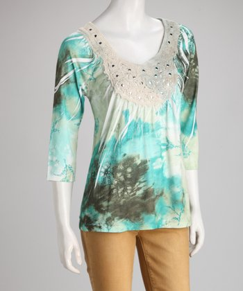 Green Watercolor Sublimation Studded Crocheted Top