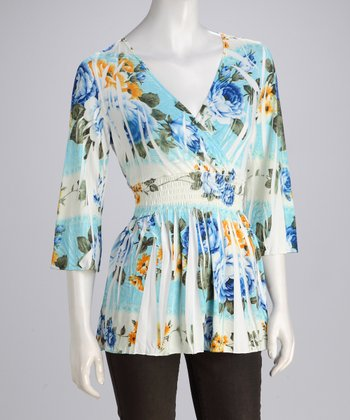 Blue Blossom Sublimation V-Neck Tunic