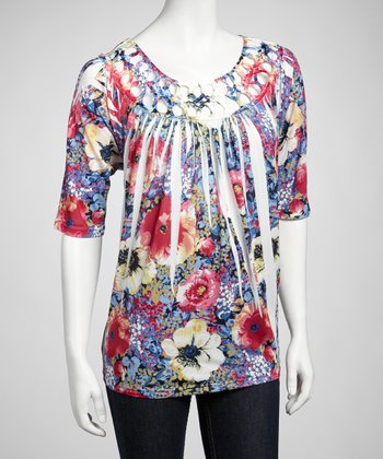 Blue & Pink Flower Sublimation Top