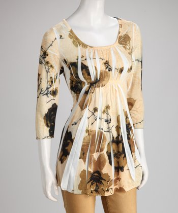 Khaki Floral Sublimation Three-Quarter Sleeve Top