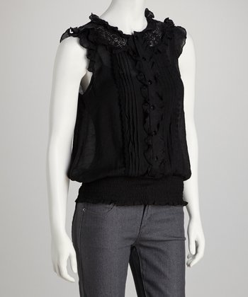Black Ruffle Angel-Sleeve Top