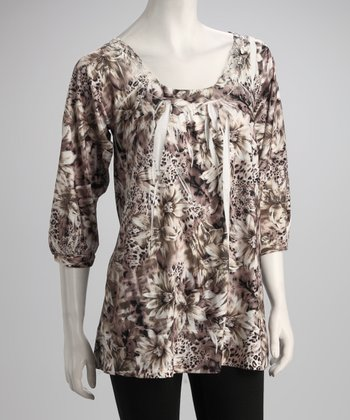 Brown & White Floral Jungle Sublimation Tunic