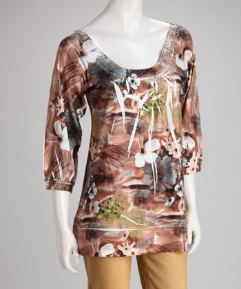 Brown Floral Sublimation Crochet-Back Top