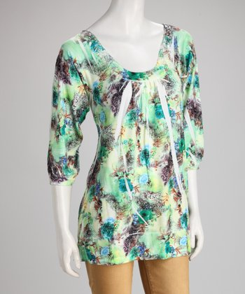Green Floral Sublimation Crochet-Back Top