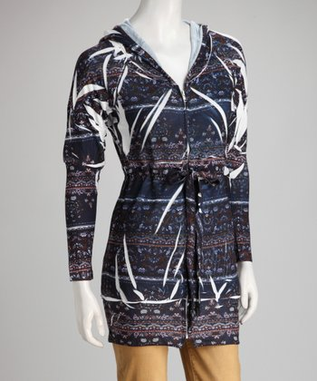 Blue Mehndi Sublimation Zip-Up Hoodie Tunic