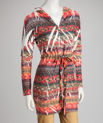 Red Tribal Sublimation Zip-Up Hoodie Tunic