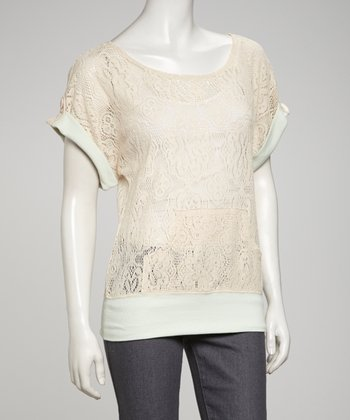 Cream & Mint Lace Top