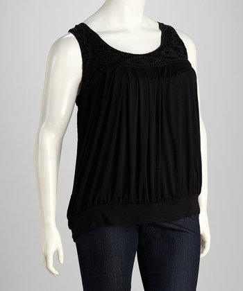 Black Crochet Banded Plus-Size Tank