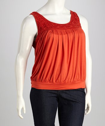 Orange Crochet Banded Plus-Size Tank