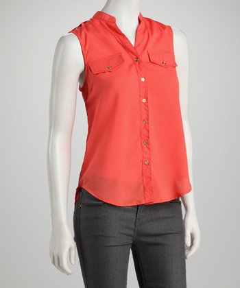 Orange Military Sleeveless Button-Up