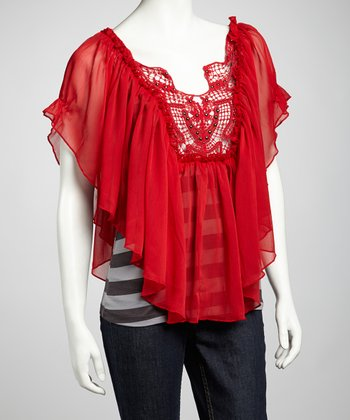 Red Stripe Sheer Top