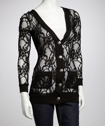 Black Sheer Lace Button-Up