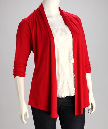 Red Lace Layered Top - Plus