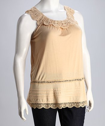 Taupe Lace Sleeveless Top - Plus