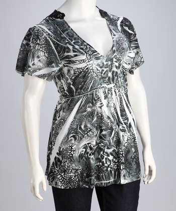 Black & Gray Safari Sublimation Plus-Size Top