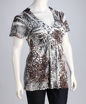 Brown Safari Sublimation Plus-Size Top