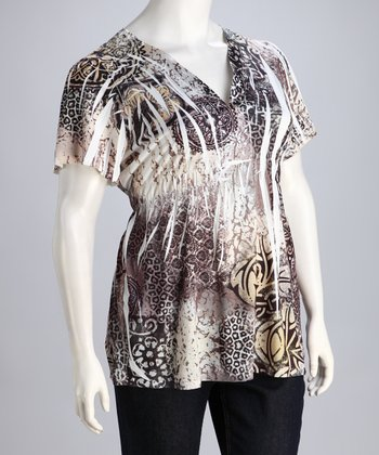 Taupe Jungle Plus-Size Top