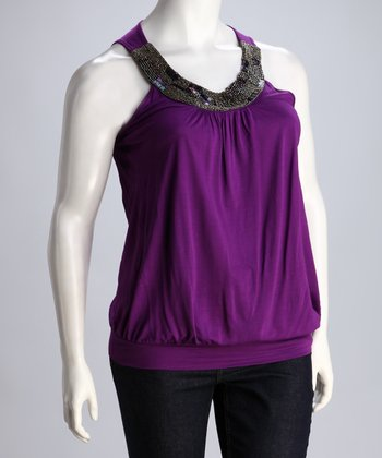 Purple Embellished Plus-Size Sleeveless Top