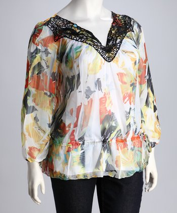 Yellow Abstract Plus-Size Top