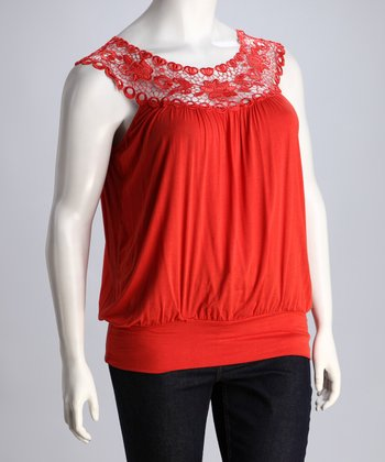 Orange Lace Tank - Plus
