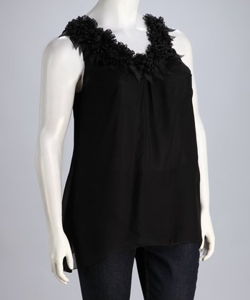 Black Ruffle Plus-Size Sleeveless Top