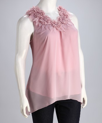 Pink Ruffle Plus-Size Sleeveless Top