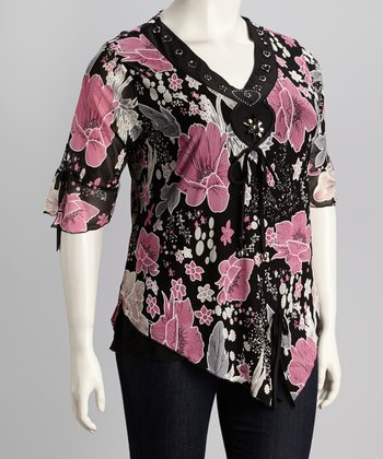 Black & Pink Plus-Size Top