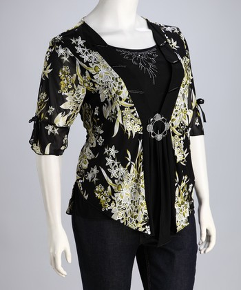 Black & Green Floral Layered Top - Plus