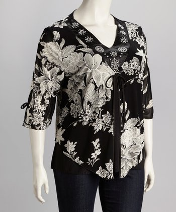 Black & Taupe Floral Plus-Size Top