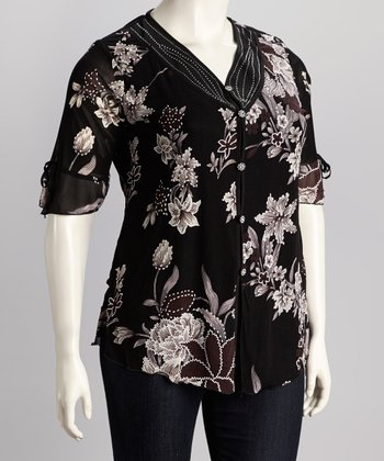 Brown Floral Plus-Size Button-Up