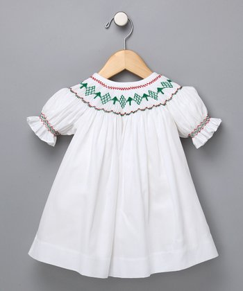 Christmas Trees Hand Smocked Dress - Infant & Toddler