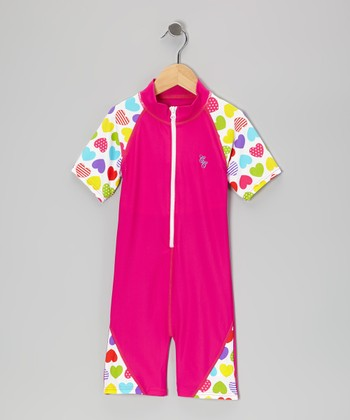 Pink Rainbow Heart One-Piece Rashguard - Infant, Toddler & Kids