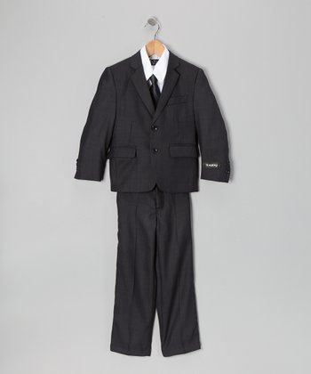Deep Gray & White Five-Piece Suit Set - Toddler, Boys & Husky