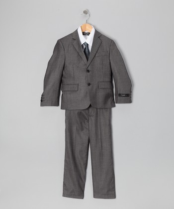 Gray & White Five-Piece Suit Set - Toddler & Boys