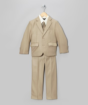 Beige Five-Piece Suit Set - Toddler & Boys