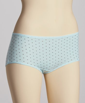 Aqua Polka Dot Briefs - Women