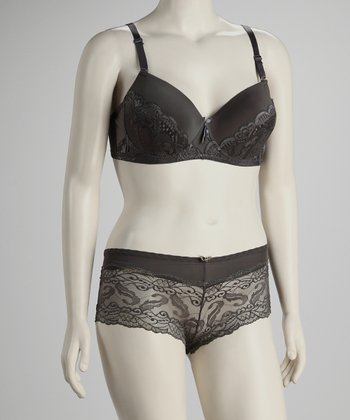 Gray Lace Balconette & Boyshorts - Plus