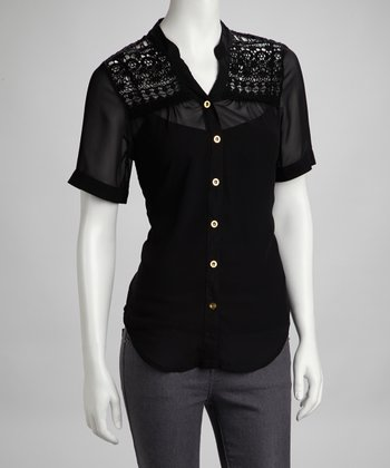 Black Crocheted Lace Button-Up