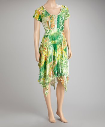 Green Paisley Sublimated Sidetail Dress