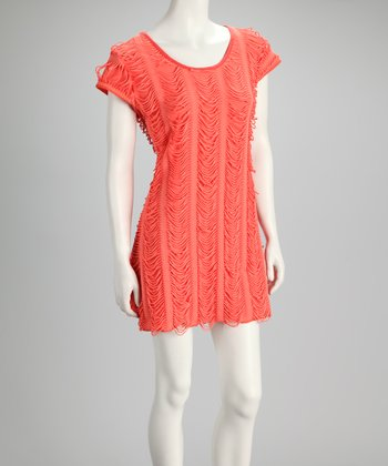Peach Fringe Dress