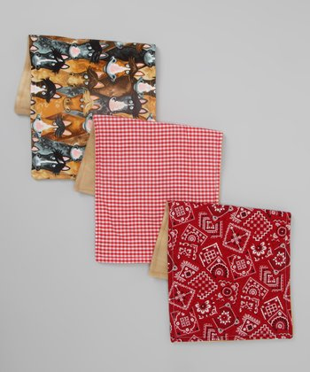 Red Slap Happy Horse Burp Cloth Set