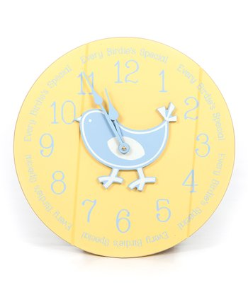 Yellow & Blue 'Every Birdie's Special' Clock