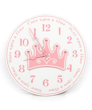 White & Pink 'Once Upon a Time' Clock